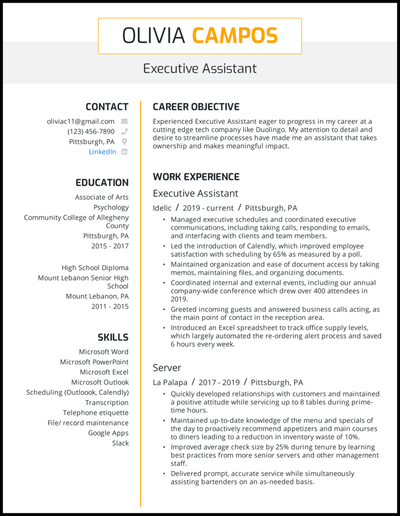 Executive assistant resume with 5+ years of experience