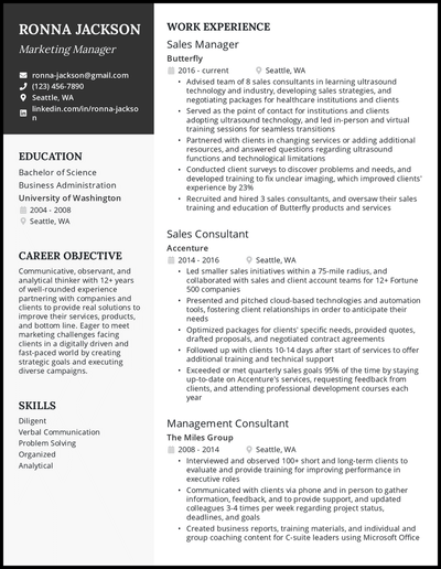 Career change resume with 12+ years of experience