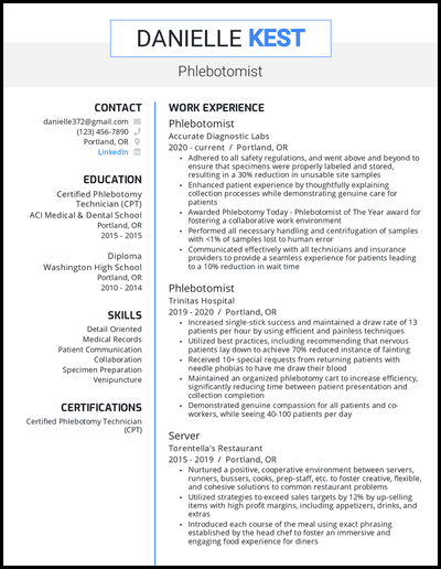 Phlebotomist resume with 2+ years of experience