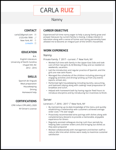 Nanny resume example with 4+ years of experience