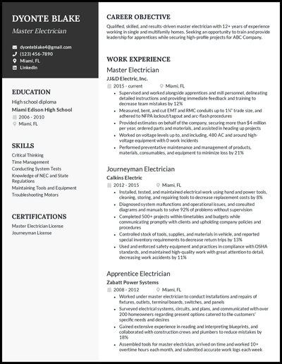 Electrician resume with 12+ years of experience