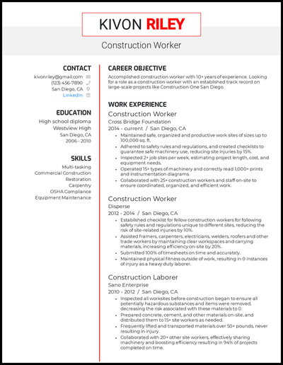Construction worker resume with 10+ years of experience
