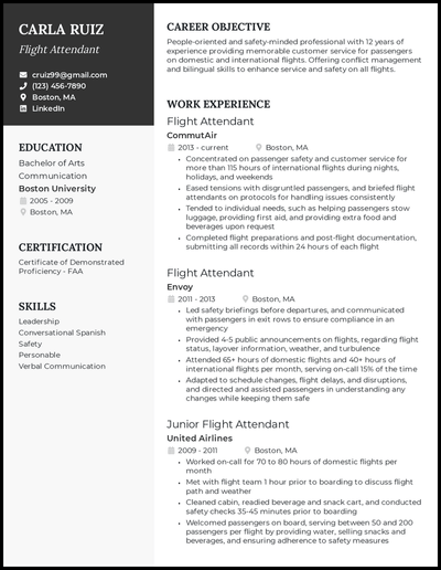 Flight attendant resume with 12 years of experience