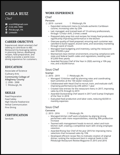Chef resume with 5+ years of experience