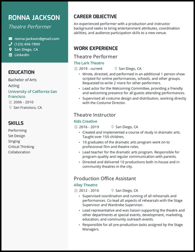 Theatre resume with 10 years of experience
