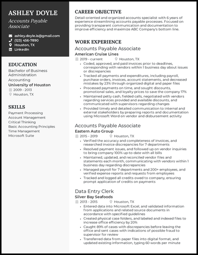 Accounts payable resume with 6 years of experience