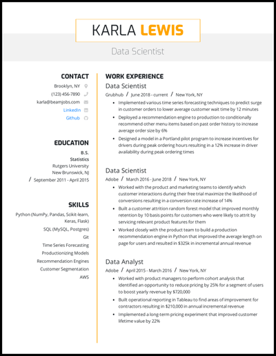 Data scientist resume with 5+ years of experience