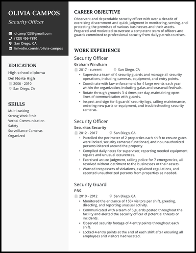 Security officer resume with 10+ years of experience