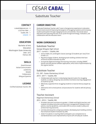 Substitute teacher resume with 7 years of experience