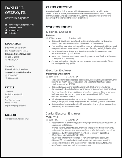 Electrical engineer resume with 10+ years of experience