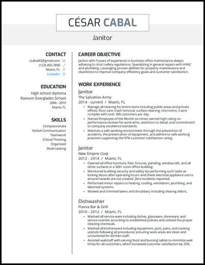 Janitor resume with 9 years of experience