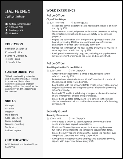 Police officer resume with 11+ years of experience