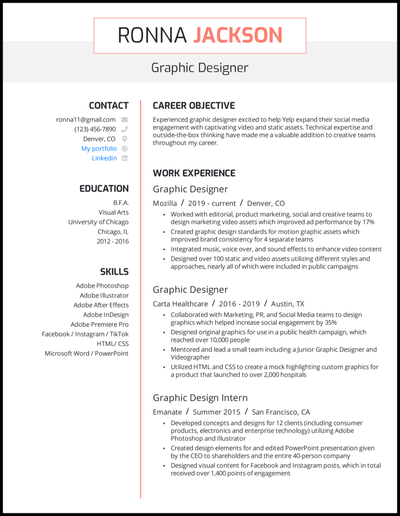 Graphic designer resume with 5 years of experience