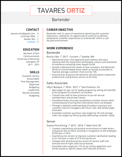 Bartender resume with 5+ years of experience