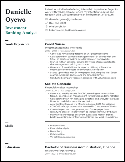 Investment banking resume with 12+ years of experience