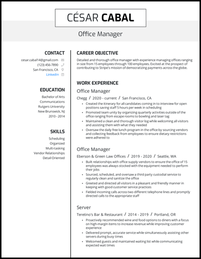 Office manager resume with 4+ years of experience