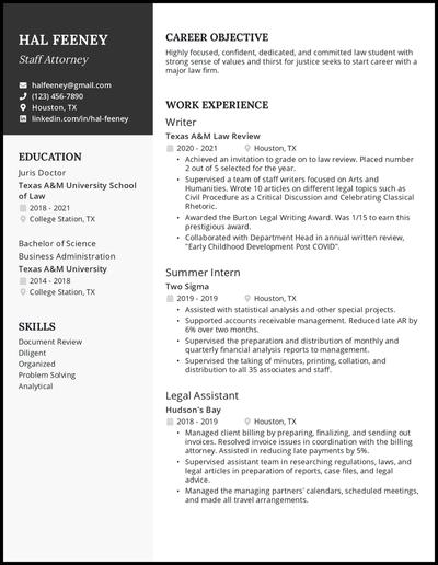 Law school student resume example