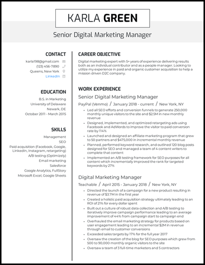 Manager resume with 5+ years of experience
