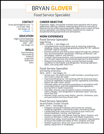 Food service specialist resume with 8 years of experience