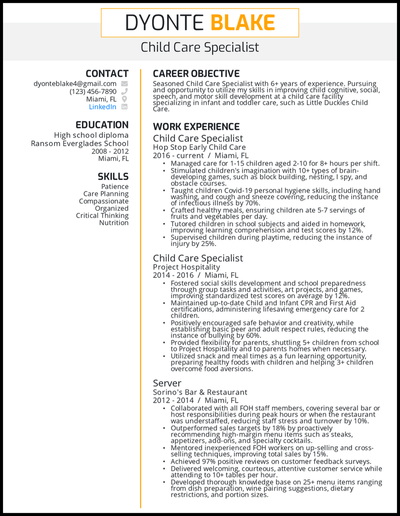 Child care resume with 6+ years of experience