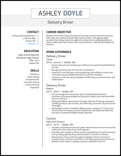 Delivery driver resume with 5 years of experience