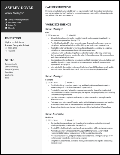 Retail manager resume with 10 years of experience