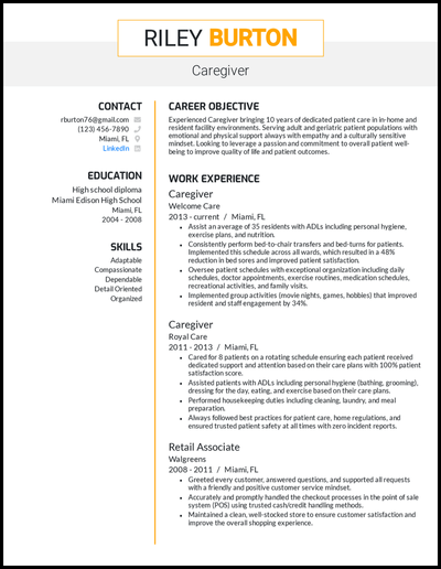 Caregiver resume with 10 years of experience