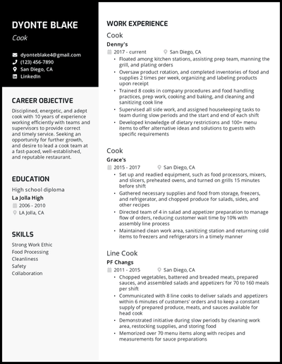 Cook resume with 10 years of experience