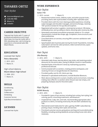 Hair stylist resume with 7+ years of experience