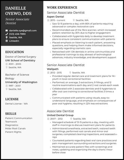Dentist resume with 13+ years of experience