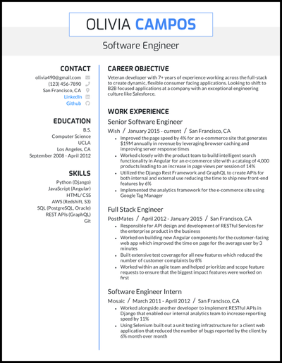 Engineering resume with 5+ years of experience