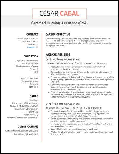 CNA resume with 4 years of experience