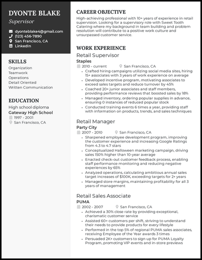 Supervisor with 10+ years of experience