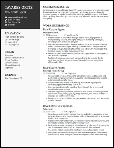 Real estate agent resume with 11 years of experience