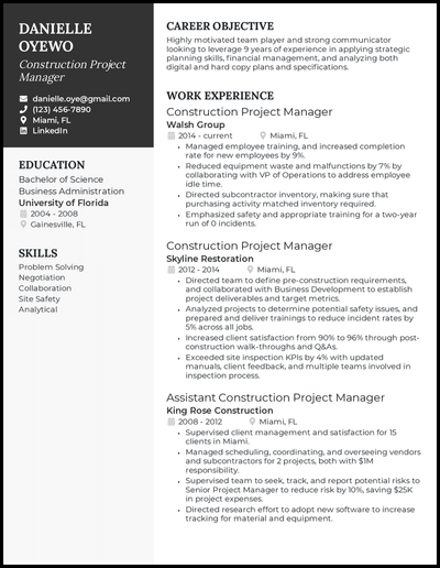 Construction project manager resume with 9 years of experience