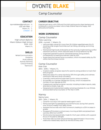 Camp Counselor resume with 3 years of experience