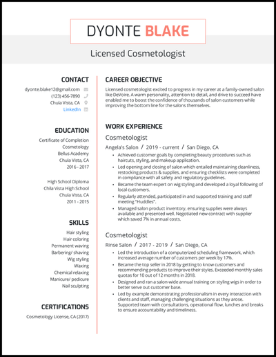 Cosmetology resume with 4 years of experience