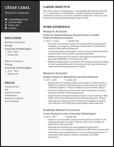 Research assistant resume with 6+ years of experience