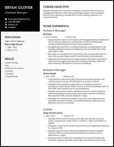 Assistant Manager resume with 5+ years of experience