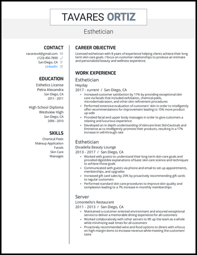 Esthetician resume with 8 years of experience