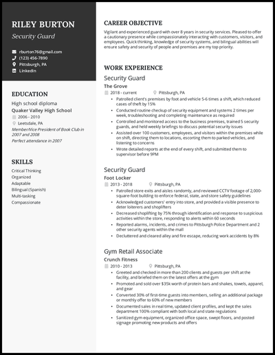Security Guard resume with over 8 years of experience