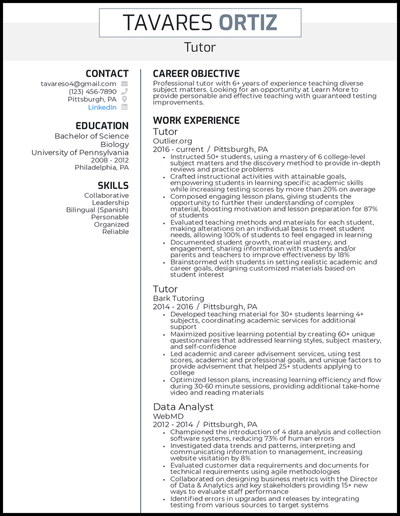 Tutor resume with 7 years of experience