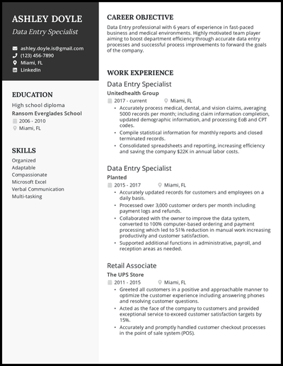Data Entry resume with 6 years of experience