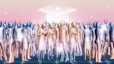 Artistic computer generated people with block like features stand in a crowd while a large disintegrating solid white graduation cap hovers over the crowd