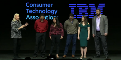 Rometty with IBM apprentices at IBM's CES 2019 keynote address.