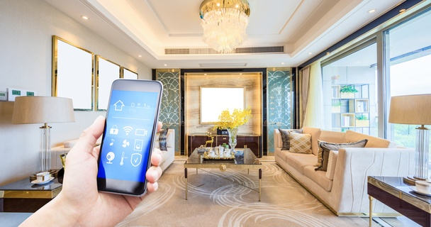 Mobile phone smart home app with a modern living room in the background