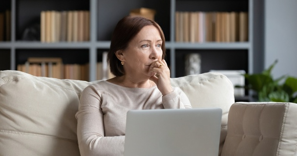stressed woman on laptop