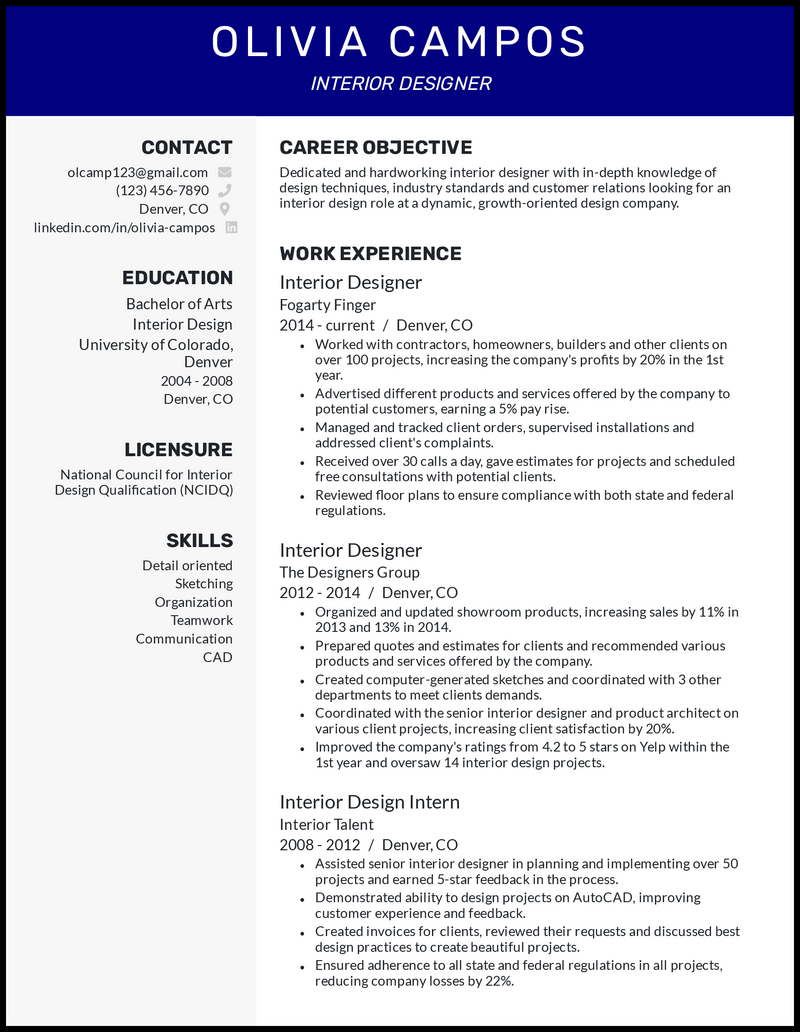 Interior design resume with 10+ years of experience