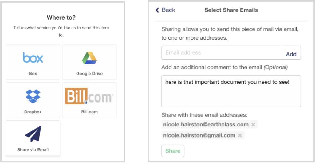 Share mail content via email