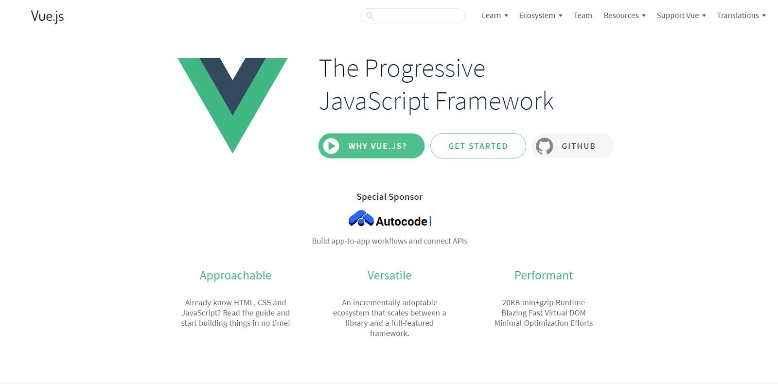 vue homepage screenshot